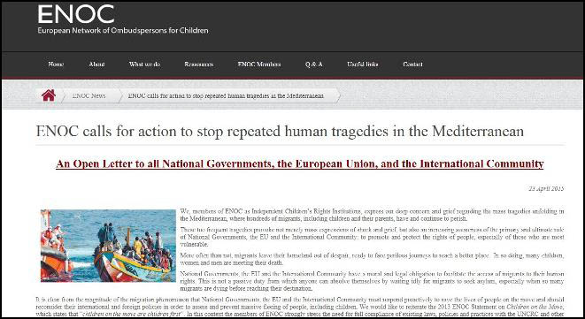 Image of ENOC Open Letter on Repeated Tragedies in Mediterranean
