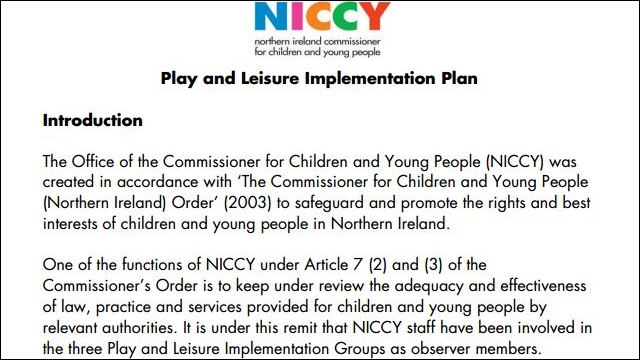 Image of NICCY Response to the Play and Leisure Implementation Plan