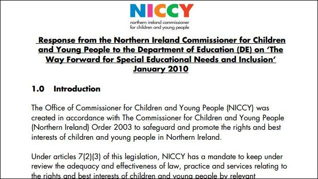 Image of NICCY Response to SEN Inclusion