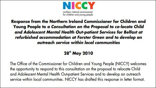 Image of NICCY Response to CAMHS Consultation