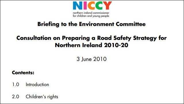 Image of NICCY Briefing on a Road Safety Strategy for Northern Ireland