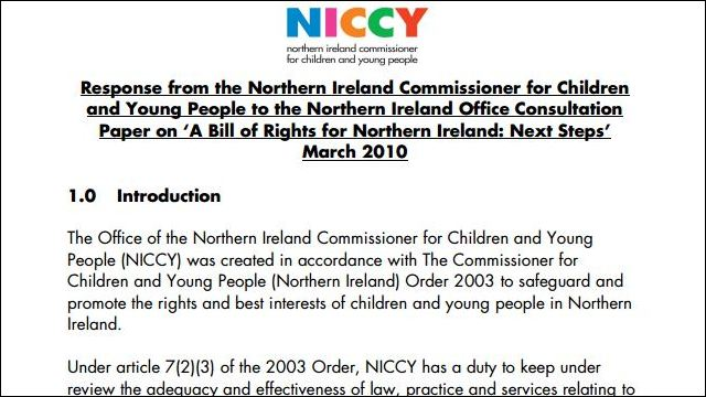 Image of NICCY Response to NIO Consultation - Bill of Rights