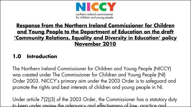 Image of NICCY Response to the Department of Education - Diversity