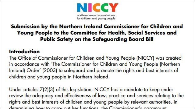 Image of NICCY Submission on the Safeguarding Board Bill
