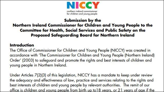 Image of Submission by NICCY  to the Committee on Safeguarding