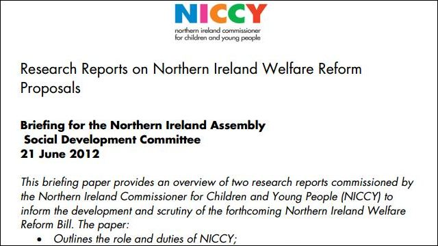 Image of Evidence to the DSD Committee on Welfare Reform