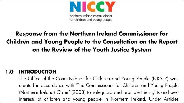 Image of NICCY Response on the Report on the Youth Justice System