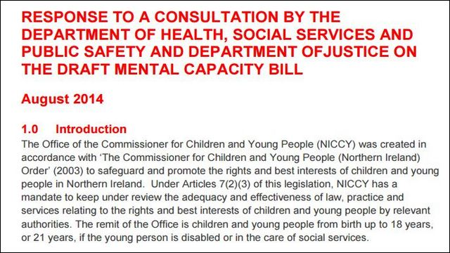 Image of Advice on the Draft Mental Capacity Bill Consultation