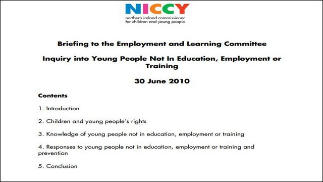 Image of NICCY Briefing into Young People Not In Education