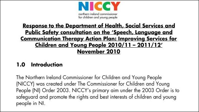 Image of NICCY Response to the Dept of Health and Social Services