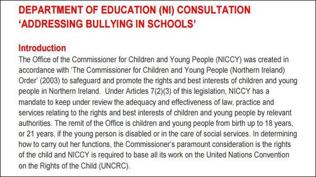 Image of Advice on Addressing Bullying in Schools Consultation