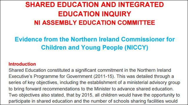 Image of Evidence to Shared and Integrated Education Inquiry