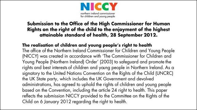 Image of NICCY Submission to the High Commissioner for Human Rights