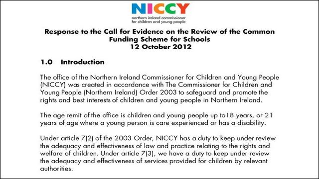 Image of NICCY Submission for Evidence on Common Funding Scheme