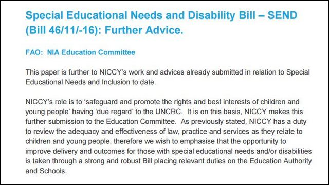 Image of Further Advice on SEND and Disability Bill