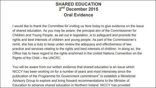 Image of Oral Evidence on Shared Education