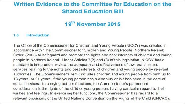 Image of Shared Education Bill Evidence
