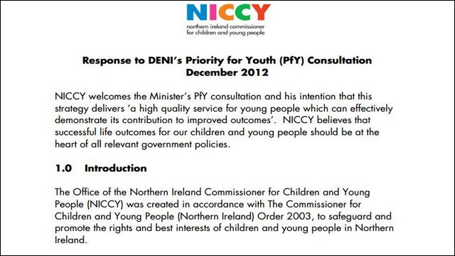 Image of NICCY's Response to DENI's Priority for Youth Consultation