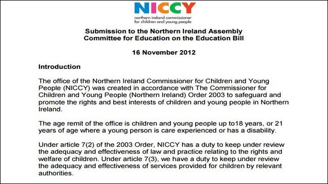 Image of NICCY's Written Evidence to the Committee for Education