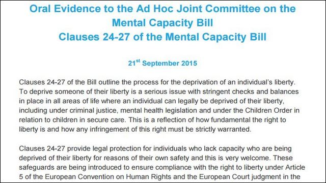 Image of Oral Evidence on Mental Capacity Bill
