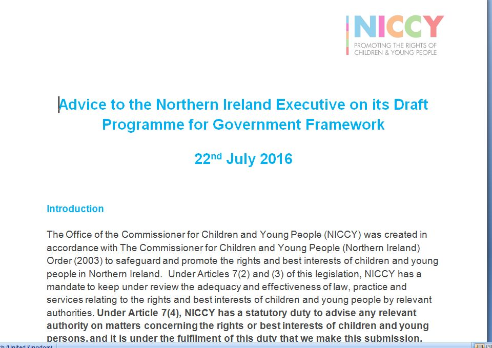 Image of NICCY Advice on Draft Programme for Government