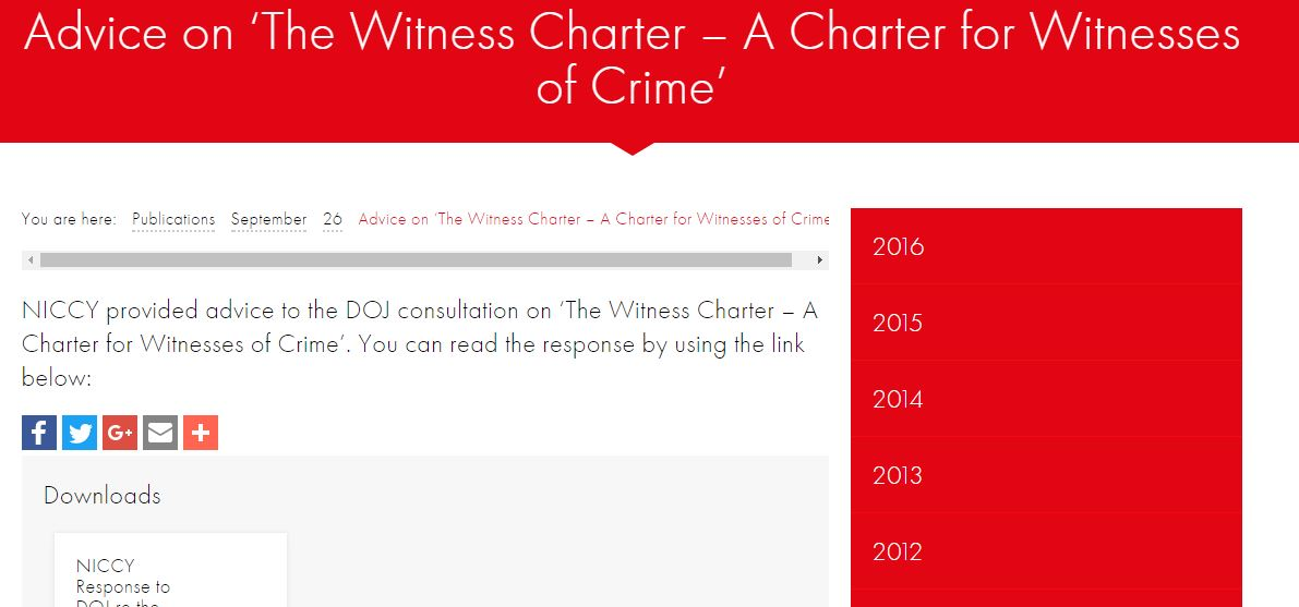 Image of Advice on 'The Witness Charter – A Charter for Witnesses of Crime'