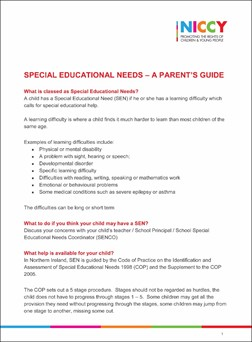 NICCY - SEN - A Parent's Guide (Nov 2016) - cover.jpg