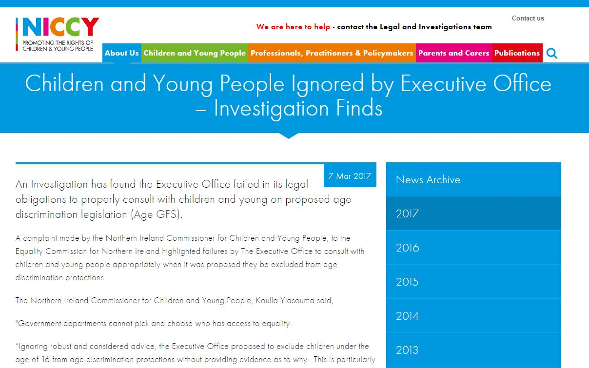 Image of Children and Young People Ignored by Executive Office – Investigation Finds