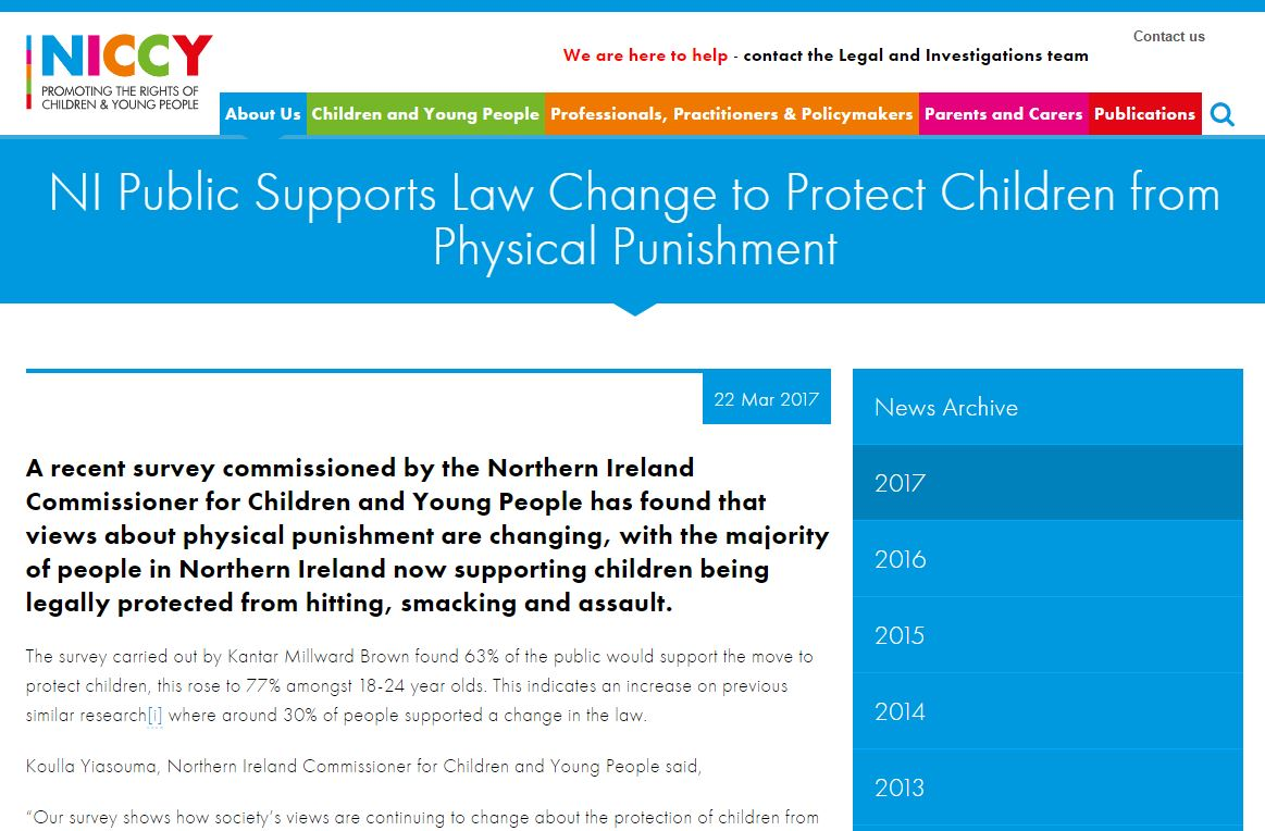 Image of NI Public Supports Law Change to Protect Children from Physical Punishment