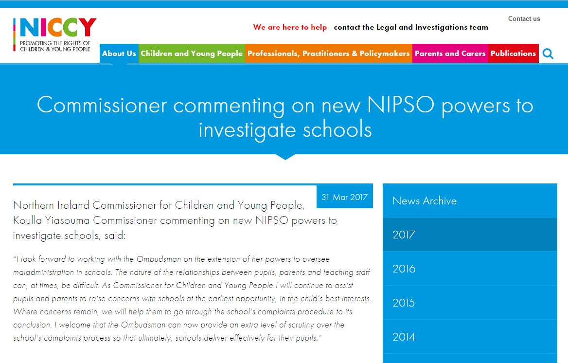 Image of Commissioner comments on new NIPSO powers to investigate schools