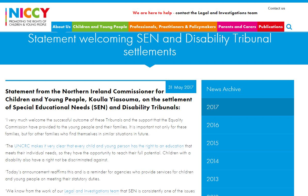 Image of Statement welcoming SEN and Disability Tribunal settlements