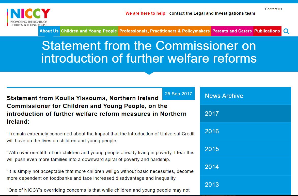 Image of Statement from the Commissioner on introduction of further welfare reforms