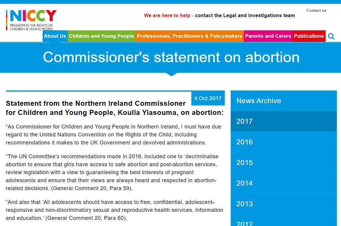 Image of Commissioner's statement on abortion