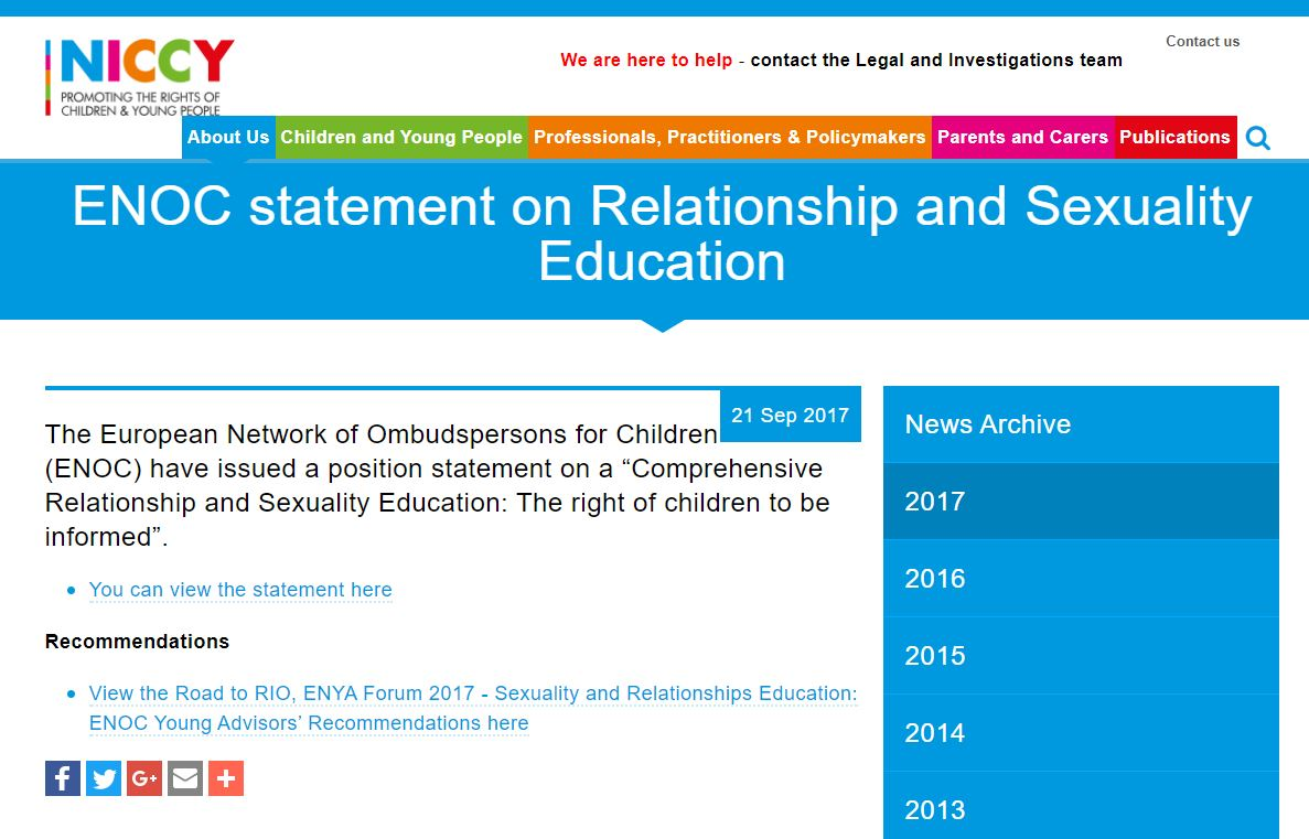 Image of ENOC statement on Relationship and Sexuality Education