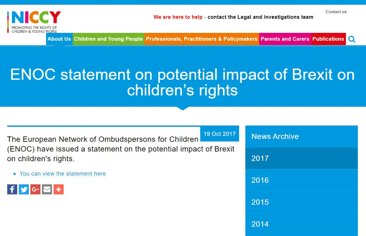 Image of ENOC statement on potential impact of Brexit on children's rights
