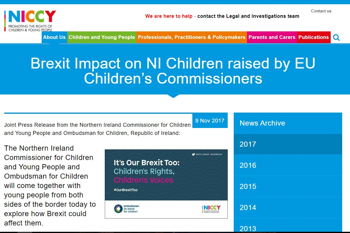 Image of Brexit Impact on NI Children raised by EU Children's Commissioners