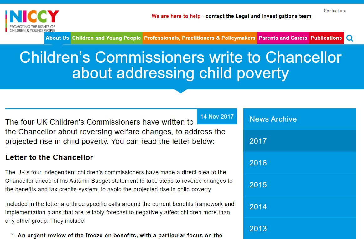 Image of Children's Commissioners write to Chancellor about addressing child poverty