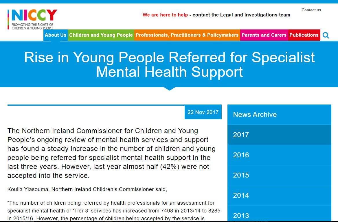 Image of Rise in Young People Referred for Specialist Mental Health Support