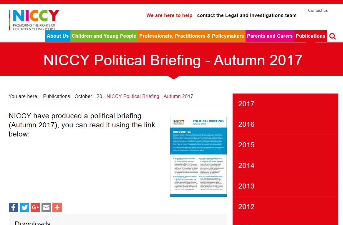 Image of NICCY Political Briefing - Autumn 2017