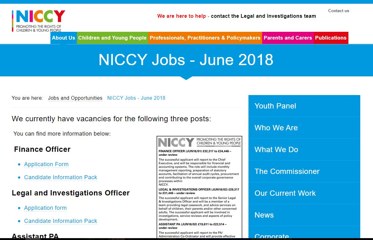 Photo for NICCY Jobs - June 2018