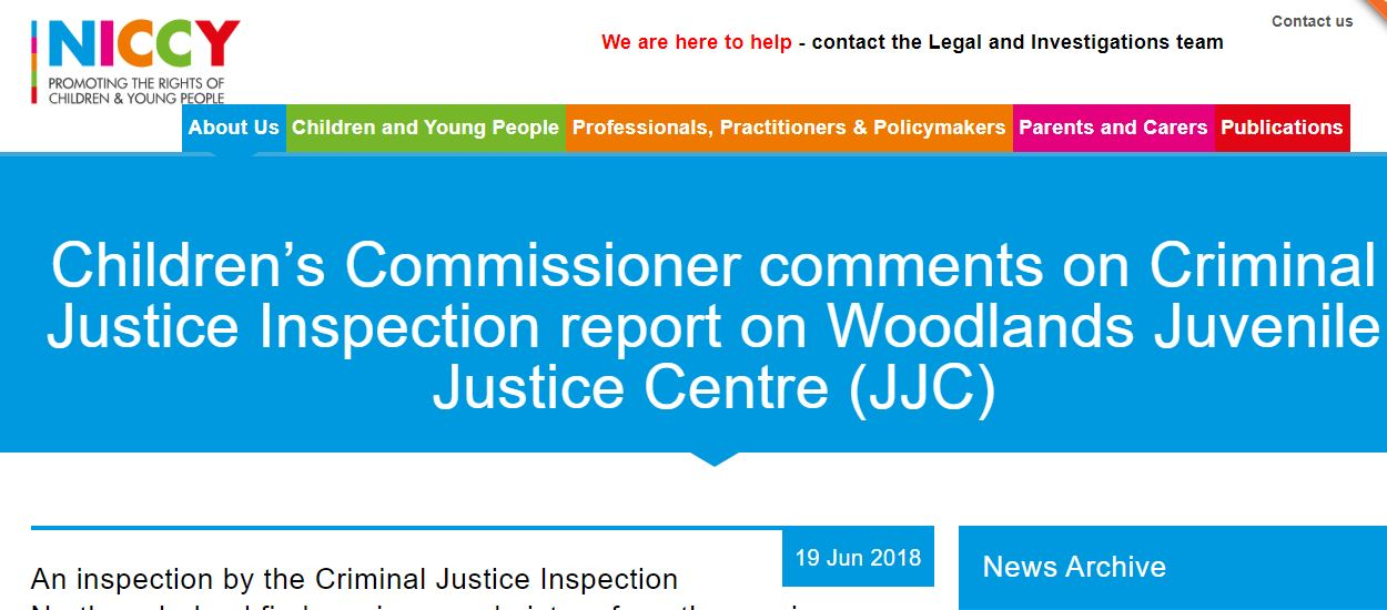 Image of Criminal Justice Inspection report on Woodlands Juvenile Justice Centre