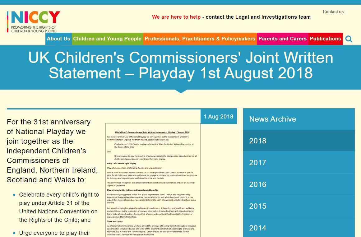 Image of UK Children's Commissioners' Joint Written Statement – Playday