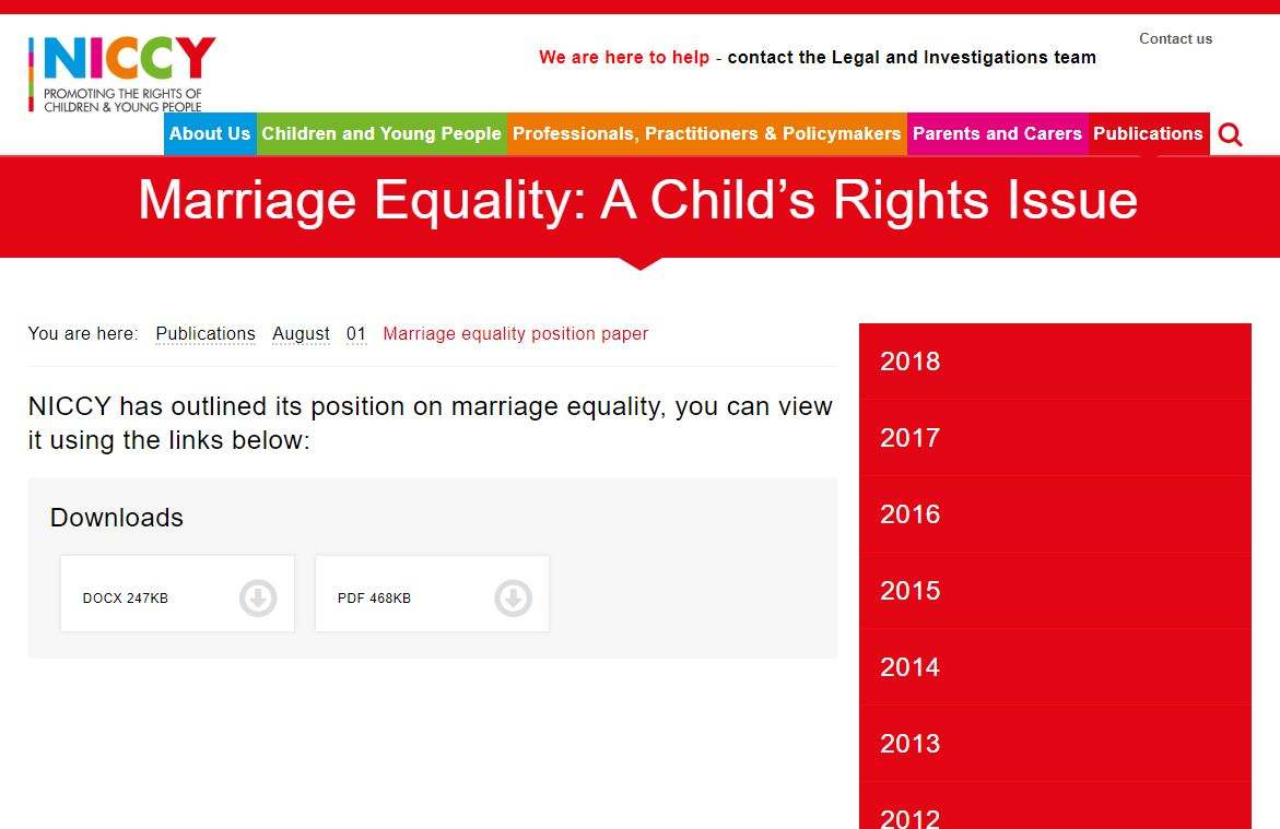Image of Marriage equality position paper