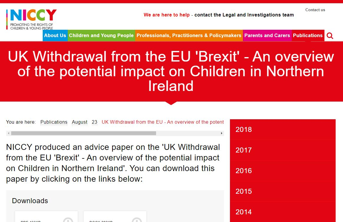 Image of UK Withdrawal from the EU  - An overview of the potential impact on Children in Northern Ireland
