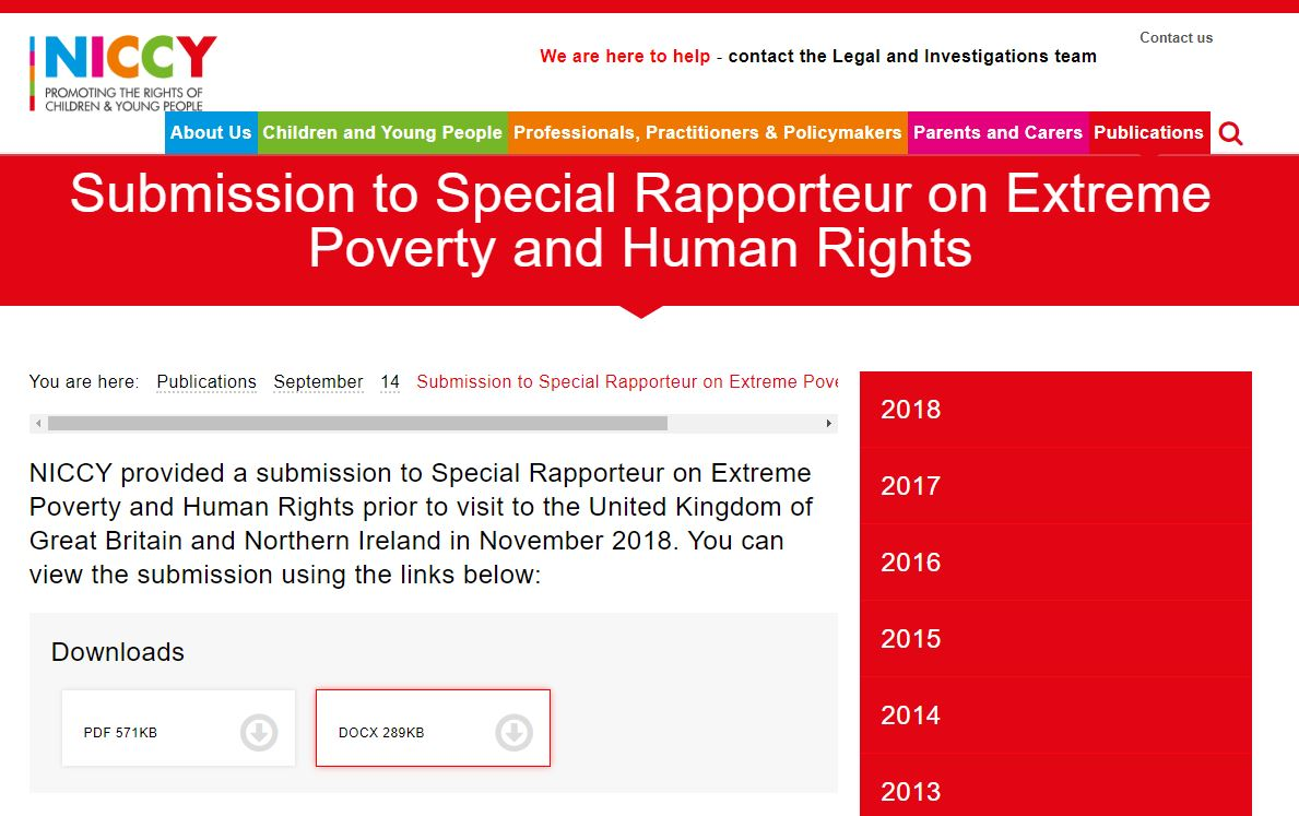 Image of Submission to Special Rapporteur on Extreme Poverty and Human Rights