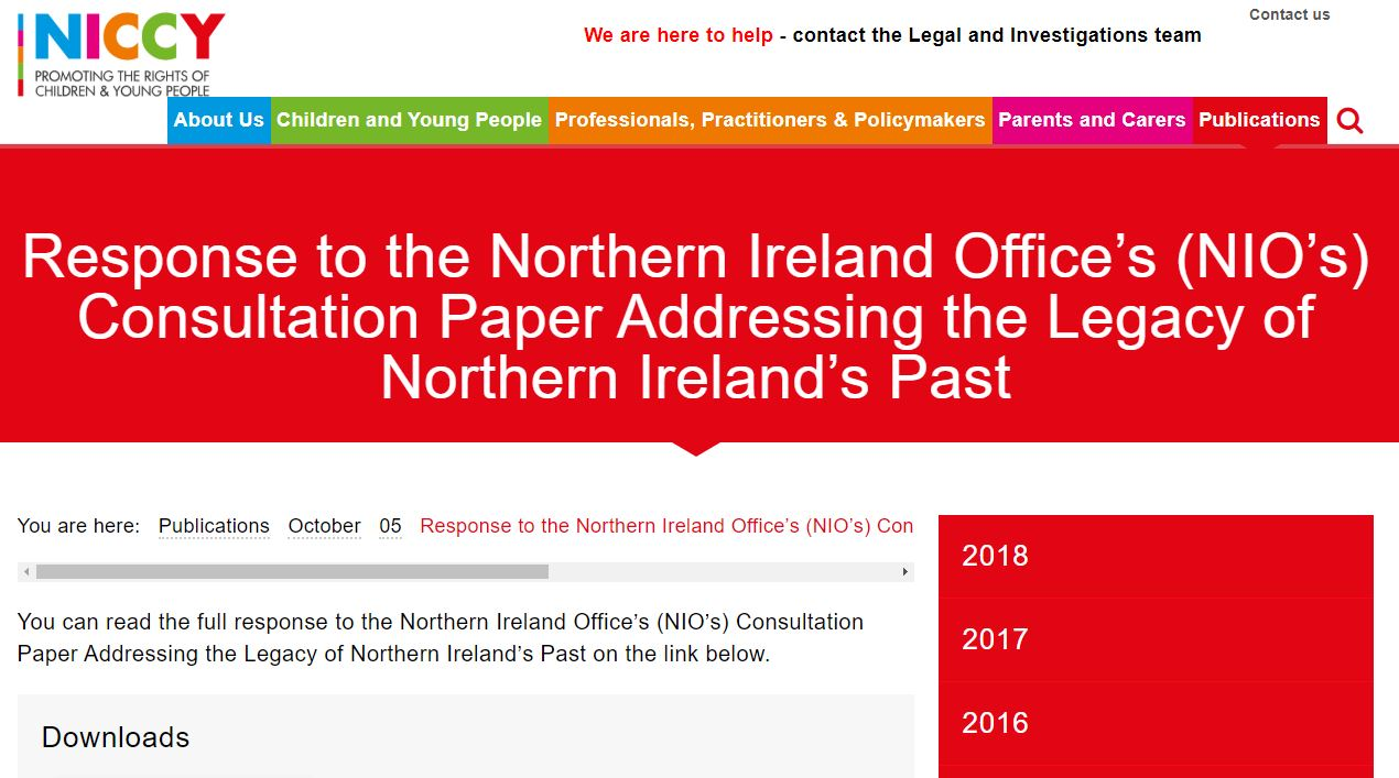 Image of Response to the Northern Ireland Office's (NIO's) Consultation Paper Addressing the Legacy of Northern Ireland's Past