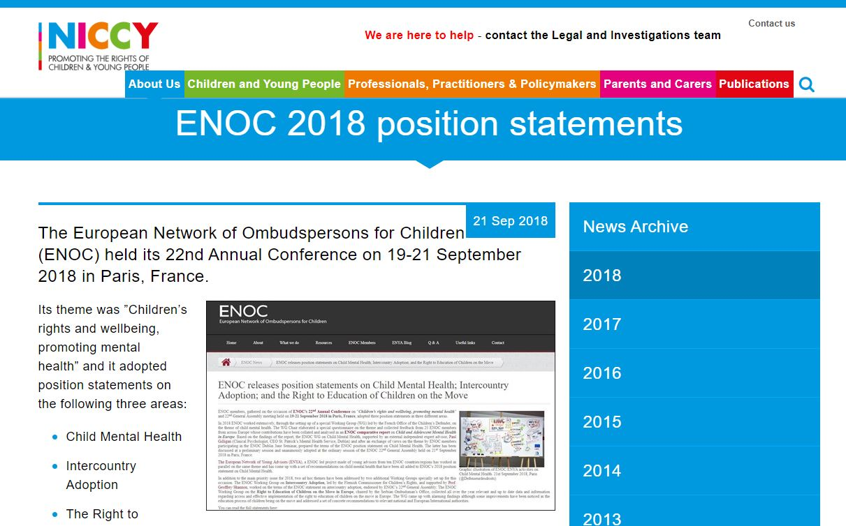 Image of ENOC 2018 position statements