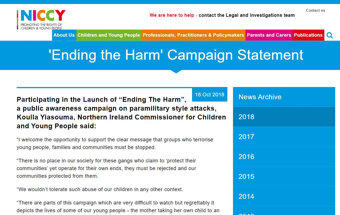 Image of 'Ending the Harm' Campaign Statement