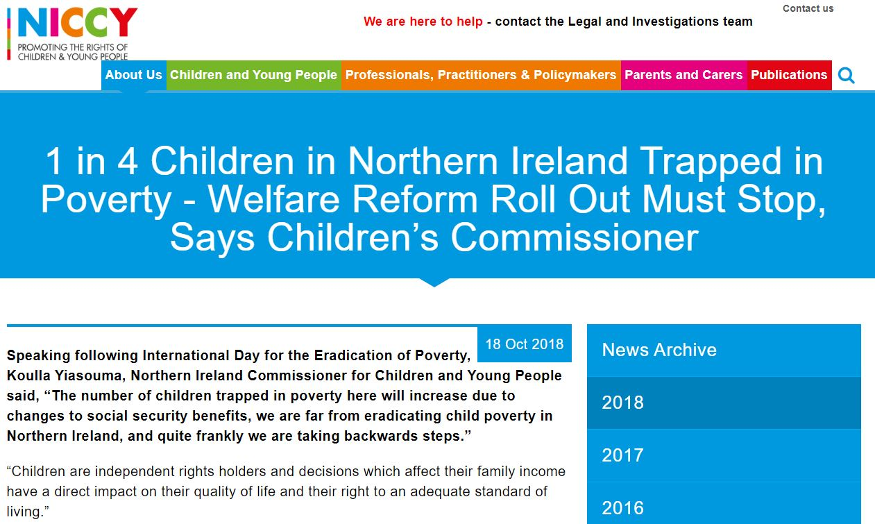 Image of 1 in 4 Children in Northern Ireland Trapped in Poverty - Welfare Reform Roll Out Must Stop, Says Children's Commissioner