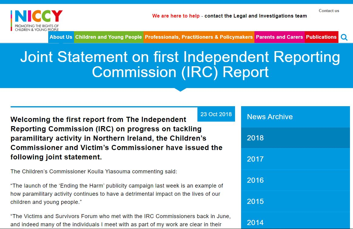 Image of Joint Statement on first Independent Reporting Commission (IRC) Report